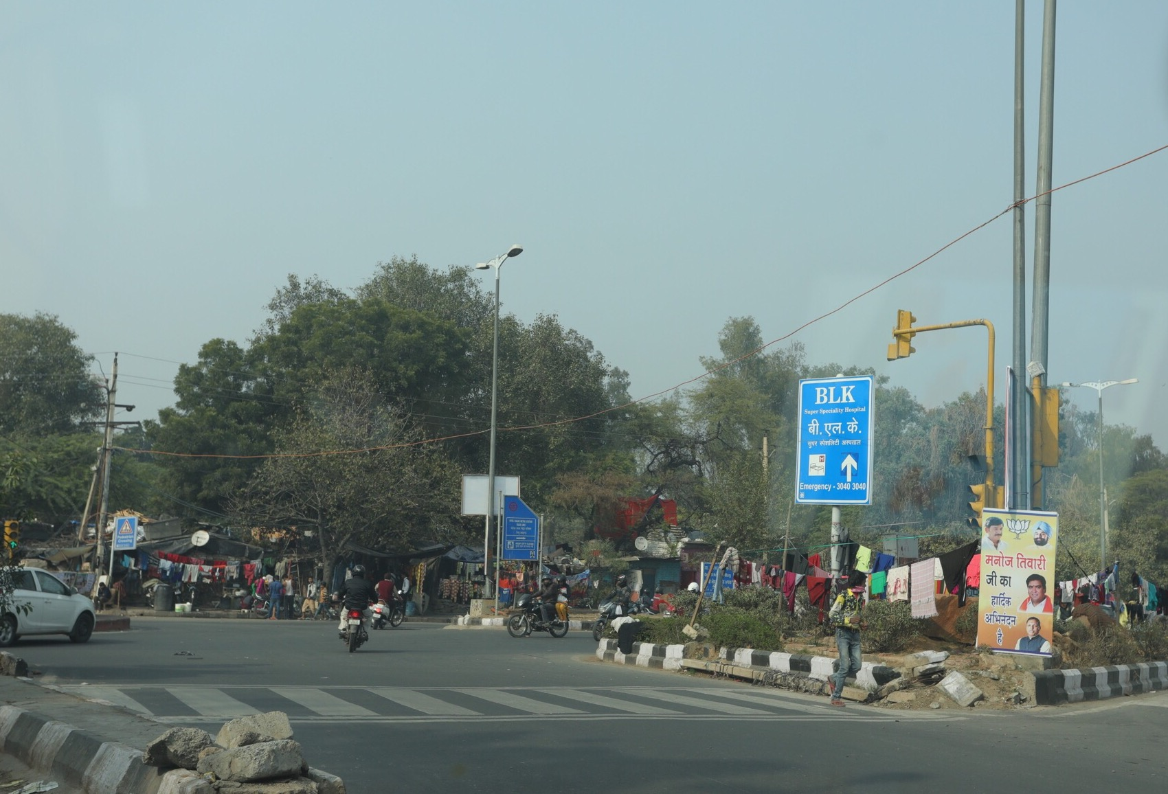 Slum on a busy roundabout