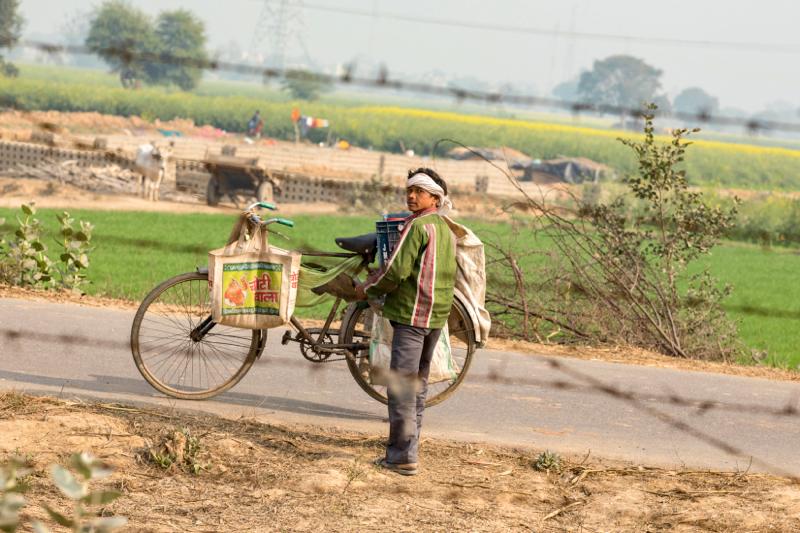 One man & his bike. Mat, Uttar Pradesh, India