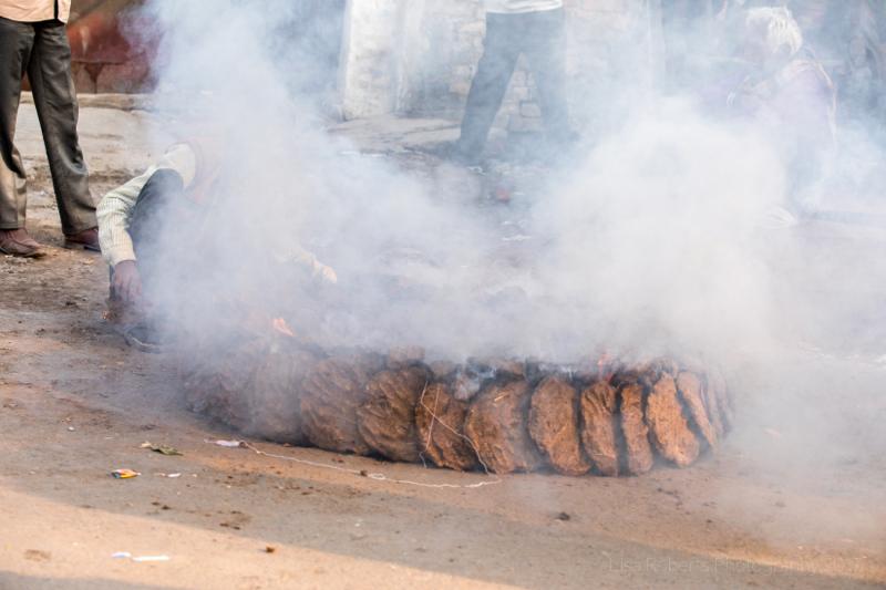 Burning the cow dung, Agra, Uttar Pradesh, India