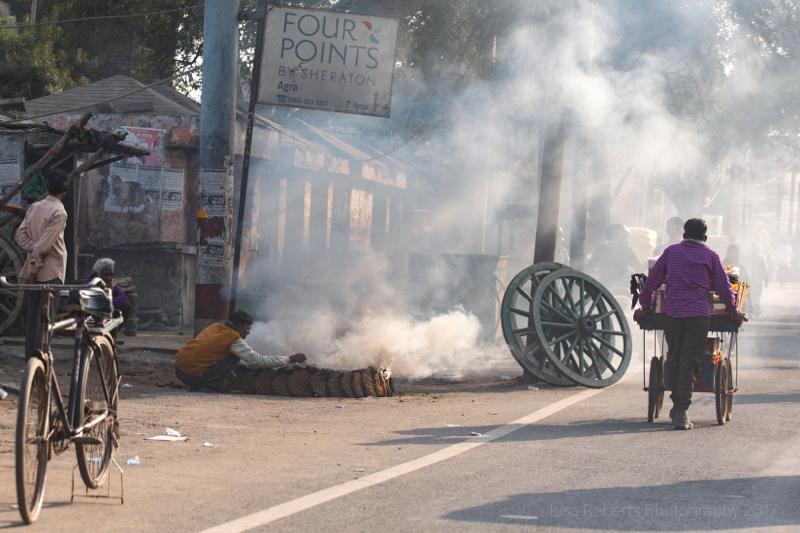 Smoky street, Agra, Uttar Pradesh, India