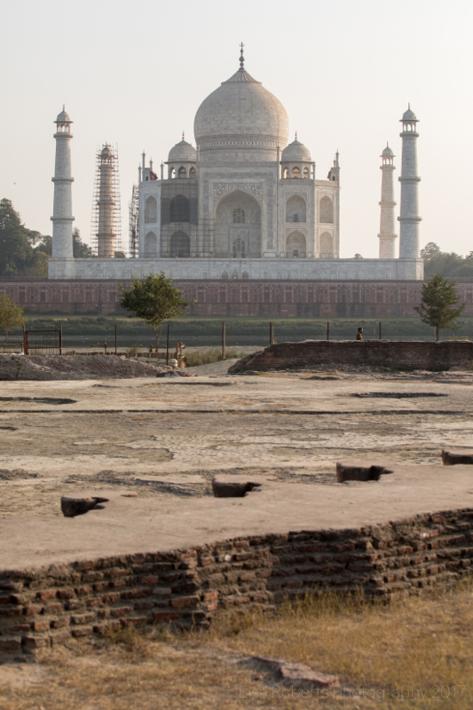 Taj Mahal with the foundations of the unfinished Black Taj in the foreground, Agra, Uttar Pradesh, India