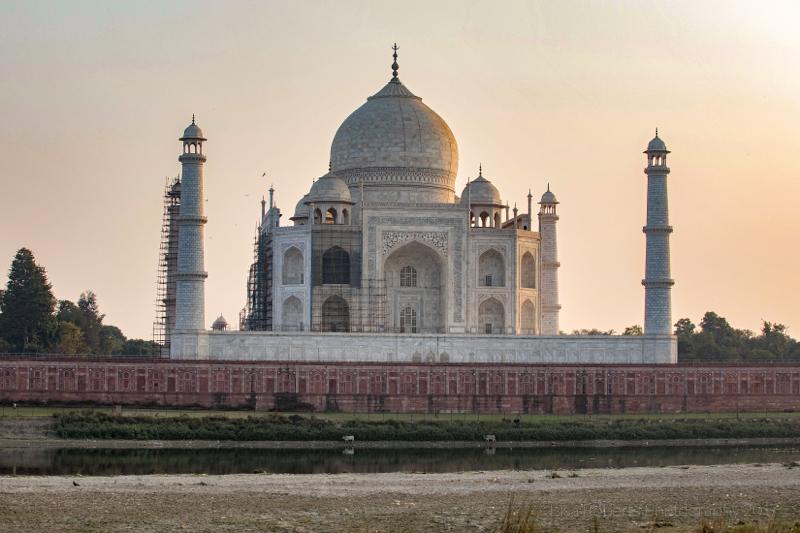 Taj Mahal near sundown from North of the River Yamuna, Agra, Uttar Pradesh, India