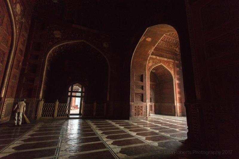 Sweeping the Mosque at the Taj Mahal, Agra, Uttar Pradesh, India