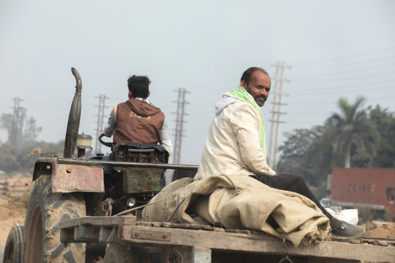 Tractor ride, Chatting on a wall, Mathura, Uttar Pradesh, India