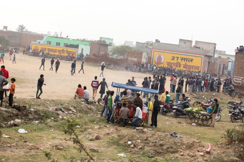Busy cricket match, Kosi Kalan, India