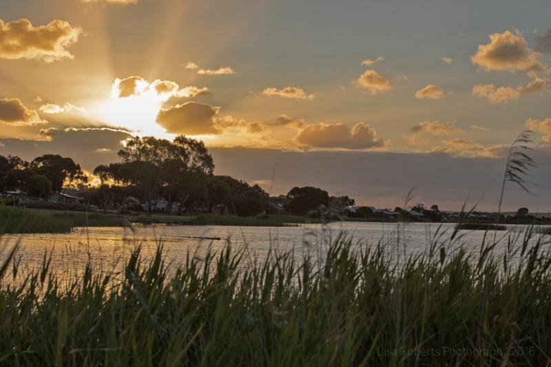 Sunset over Pelicans on Lake Albert, South Australia