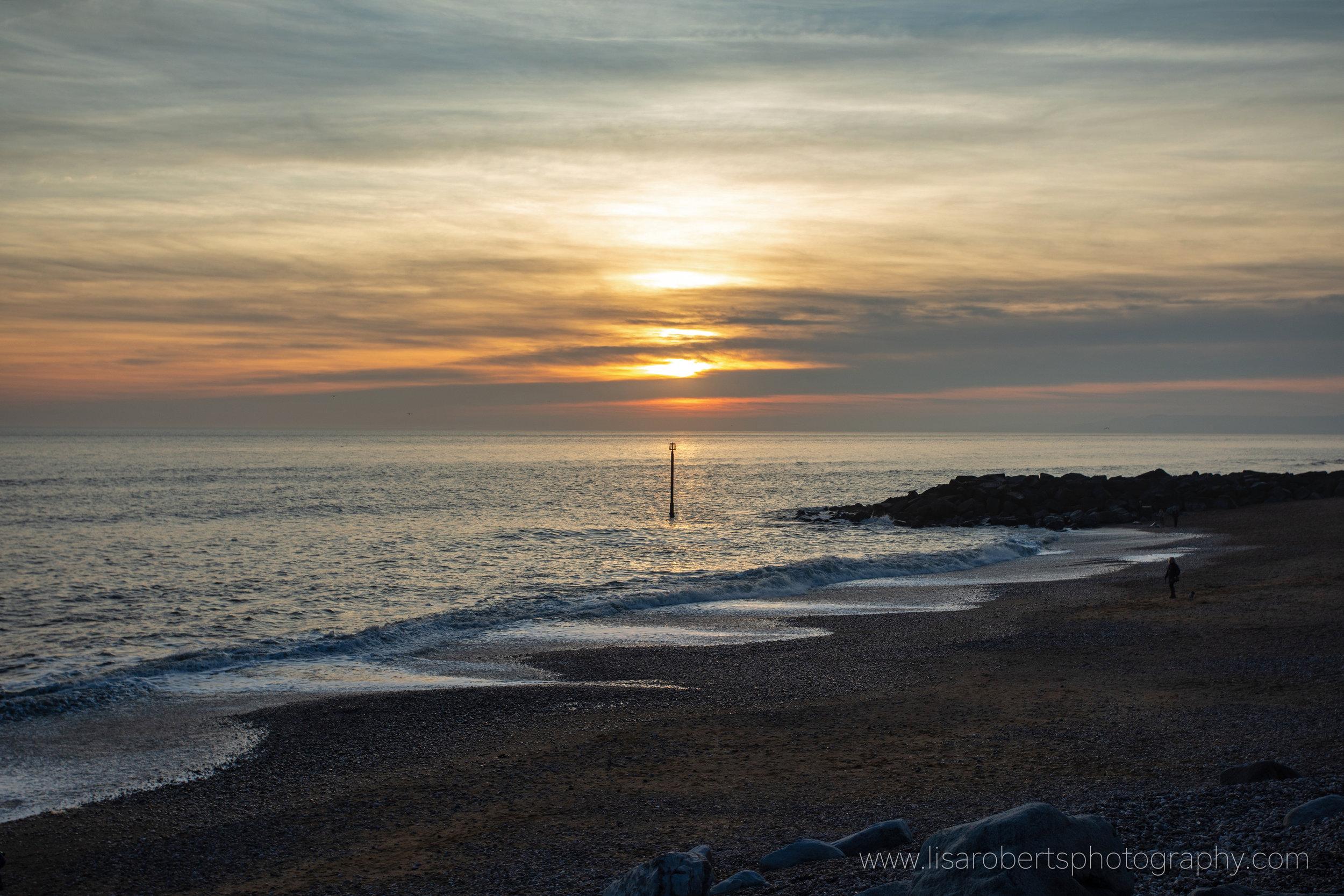 West Bay sunset, Dorset, England