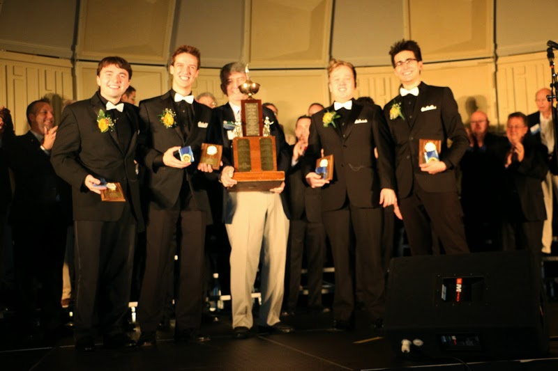 Then-NED President Murray Phillips presenting us with the Lou Perry Trophy after winning the Northeastern District contest in 2014.