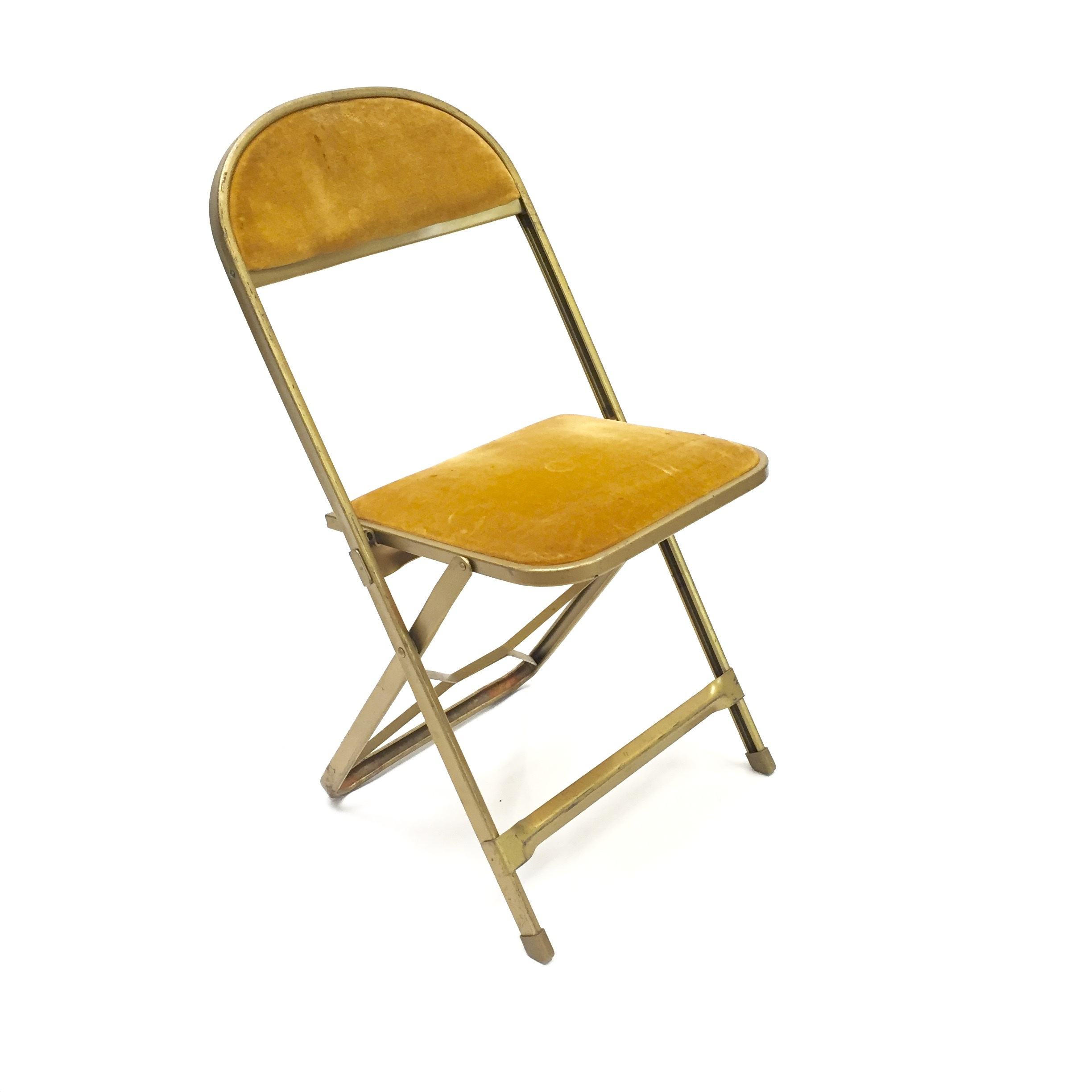 Picture of: Vintage Mustard Yellow Velvet And Golden Folding Chair Hook Props