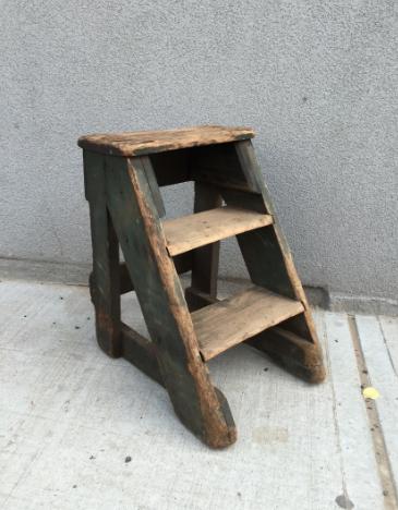 Vintage Wooden Step Stool Hook Props