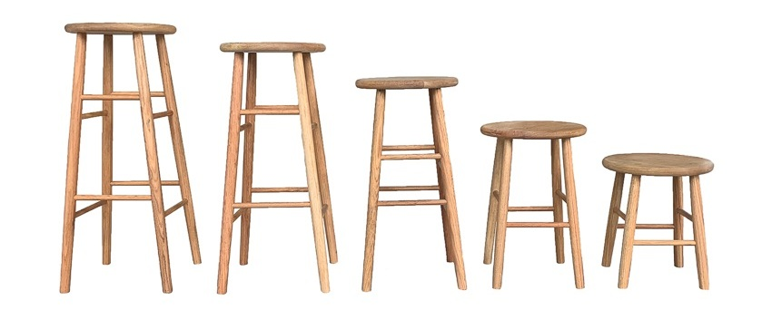 "EXTRA LIGHT OAKCLAUDE STOOLS - *NEW* SET OF 5: 30"", 28"", 24"", 18"", 14"""