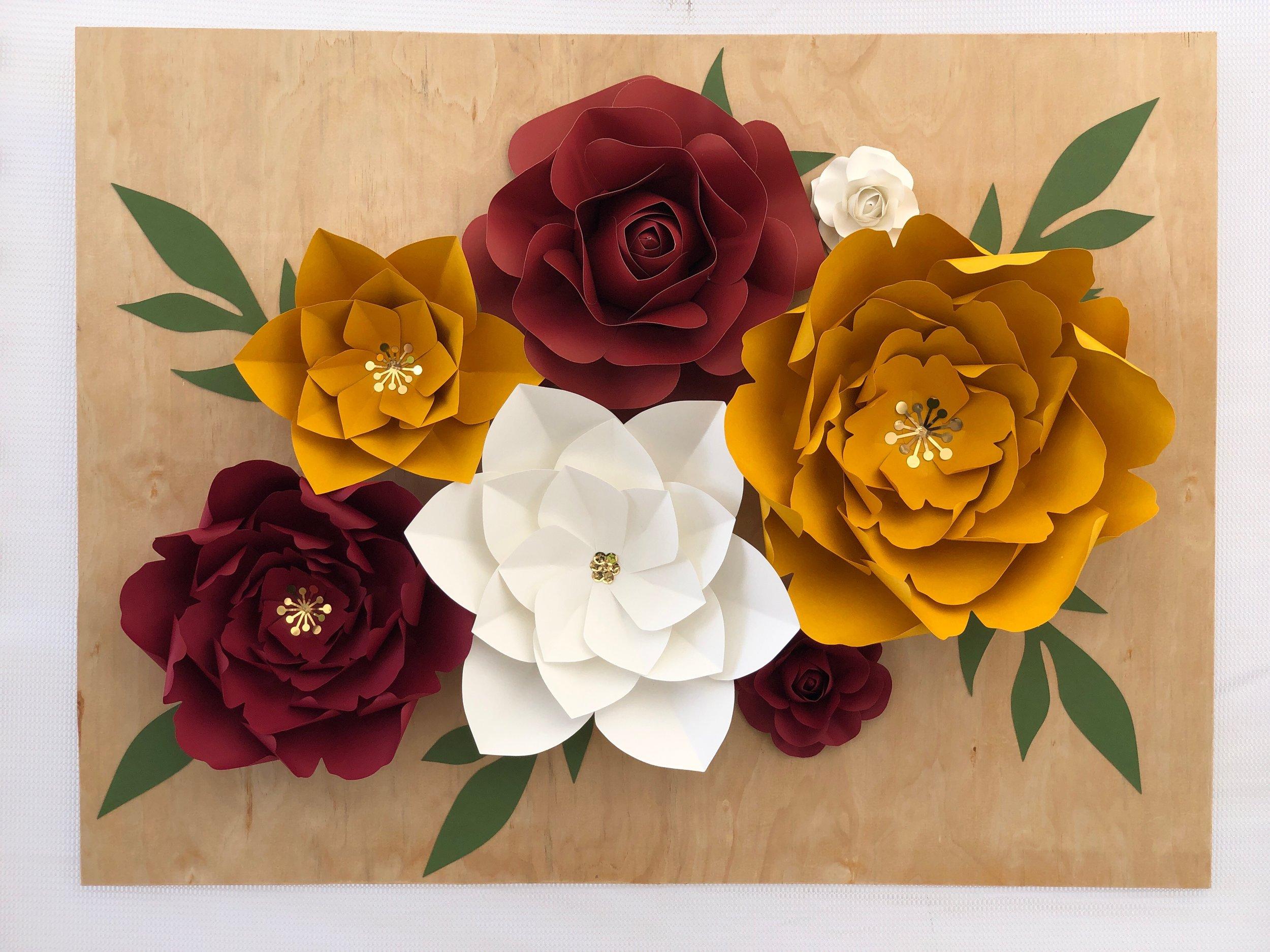 Roses and Peonies wall display by:  emilyanne_flowers