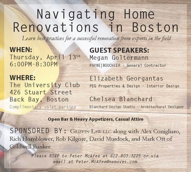 University Club  Speaking Series  - Navigating Renovations in Boston  April 2018