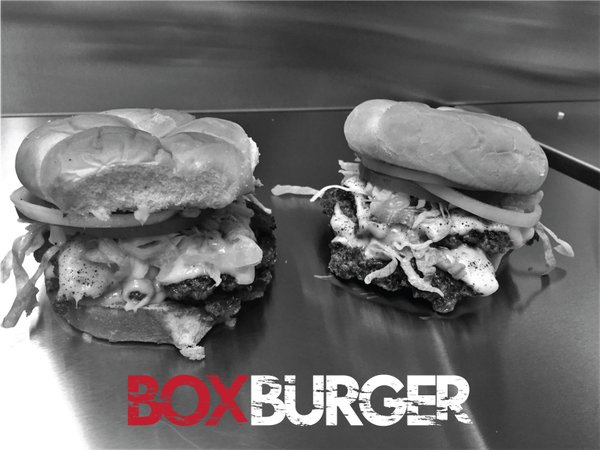 Food available by Box Burger Food Truck