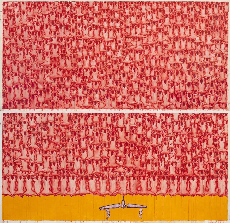 "Zakkir Hussain | Figures, Guns, Rising Suns & Two Bodies | Charcoal , soft pastel , pencil , watercolour & acrylic on paper | 85"" x 106"" | 2013"