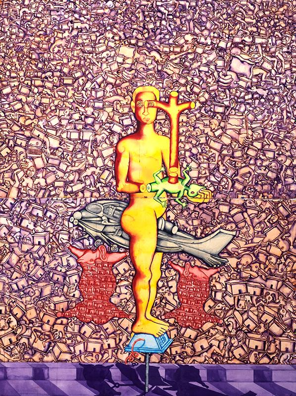 "Zakkir Hussain | Man Balancing On A Broken Public Telephone | Watercolour, pastel & pencil on paper | 40"" x 60"" (Each) | 2014"