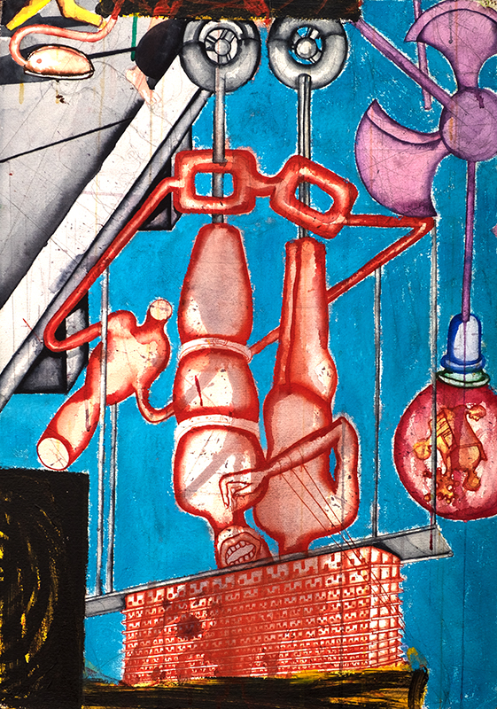"Zakkir Hussain | Reflections | Pencil, ink, watercolour, acrylic & soft pastel | 29.5"" x 21"" | 2014"