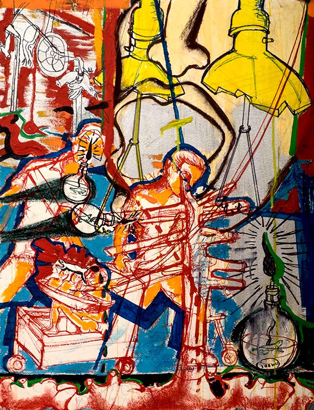 "Zakkir Hussain | Luggage | Pencil, ink, watercolour, acrylic & soft pastel | 30"" x 28"" | 2014"