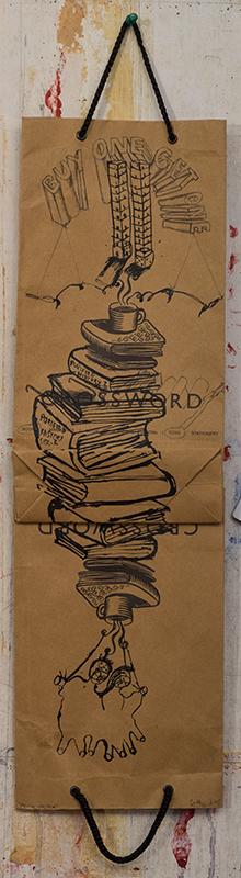 "Zakkir Hussain | Sword | Indian ink , pencil on used paper bag | 23"" x 7"" | 2015"