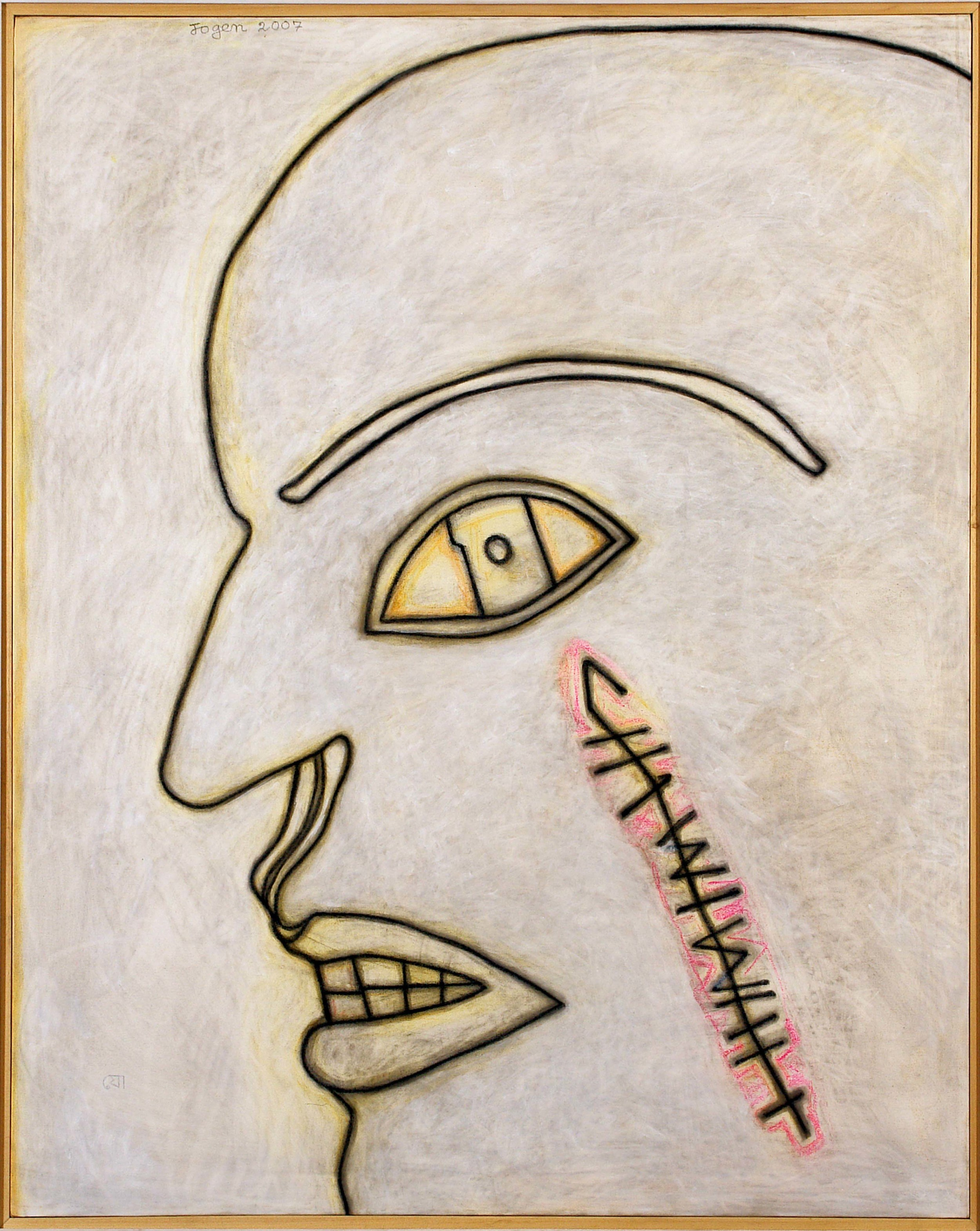 "Face in Agony | Mixed media on canvas | 60"" x 48"" 