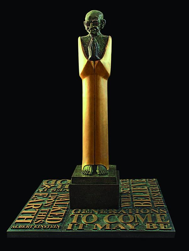"Gandhi - V | Bronze Sculpture | 76"" x 53"" x 53"""