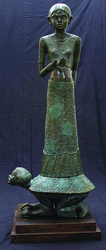 "Girl on Turtle | Bronze sculpture | 60"" x 20"" x 24"" | 2014"