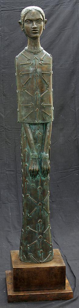 "Girl with Arrows | Bronze sculpture | 70"" x 16"" x 16"" | 2014"