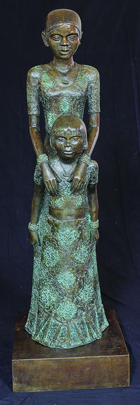 "Sisters | Bronze sculpture | 58"" x 16"" x 16"" | 2011"