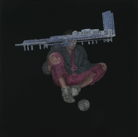 "Praneet Soi | Jeroen, Sloterdijk Station and a coin | Acrylic on canvas | 12.5"" x 12.5"" 