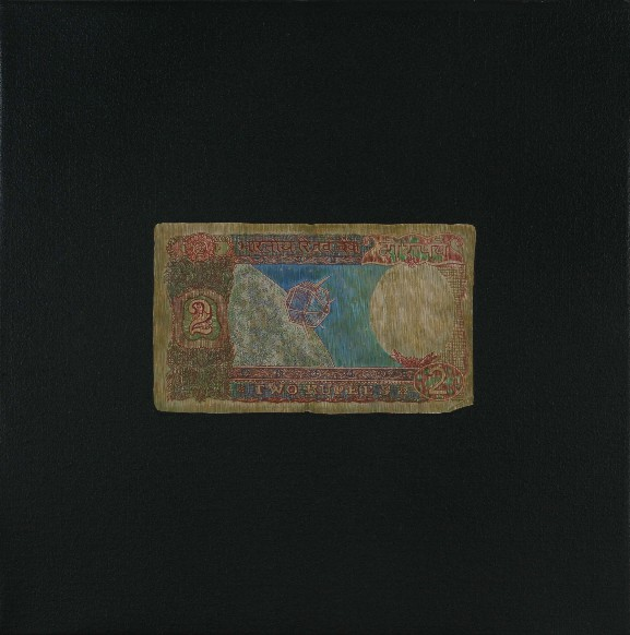 "Praneet Soi | Two Rupee Note | Acrylic on canvas | 12.5"" x 12.5"" 