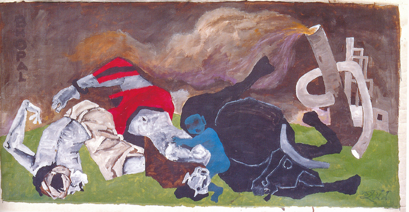 "MF Husain | Bhopal Gas | Oil on paper | 48"" x 94"""