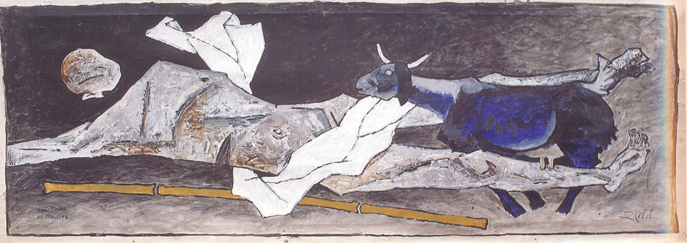"MF Husain | New Delhi | Oil on canvas | 51"" x 146.5"" 