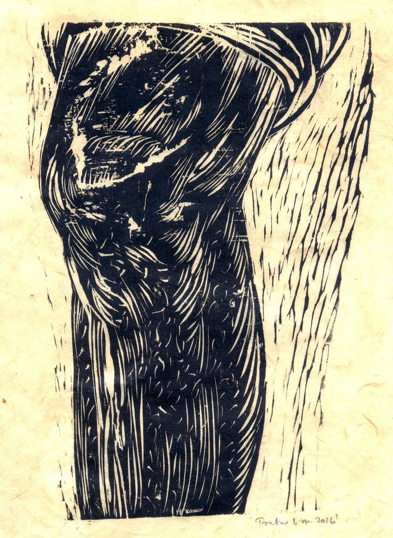 "Treibor Mawlong   Untitled   Woodcut print   9.5"" x 7""   2016"