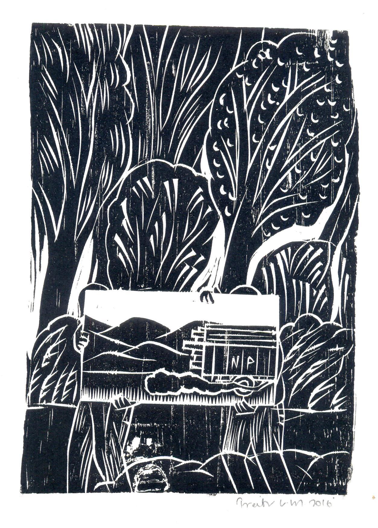 "Treibor Mawlong   NP (National Permit)   Woodcut print   9.5"" x 7""   2016"