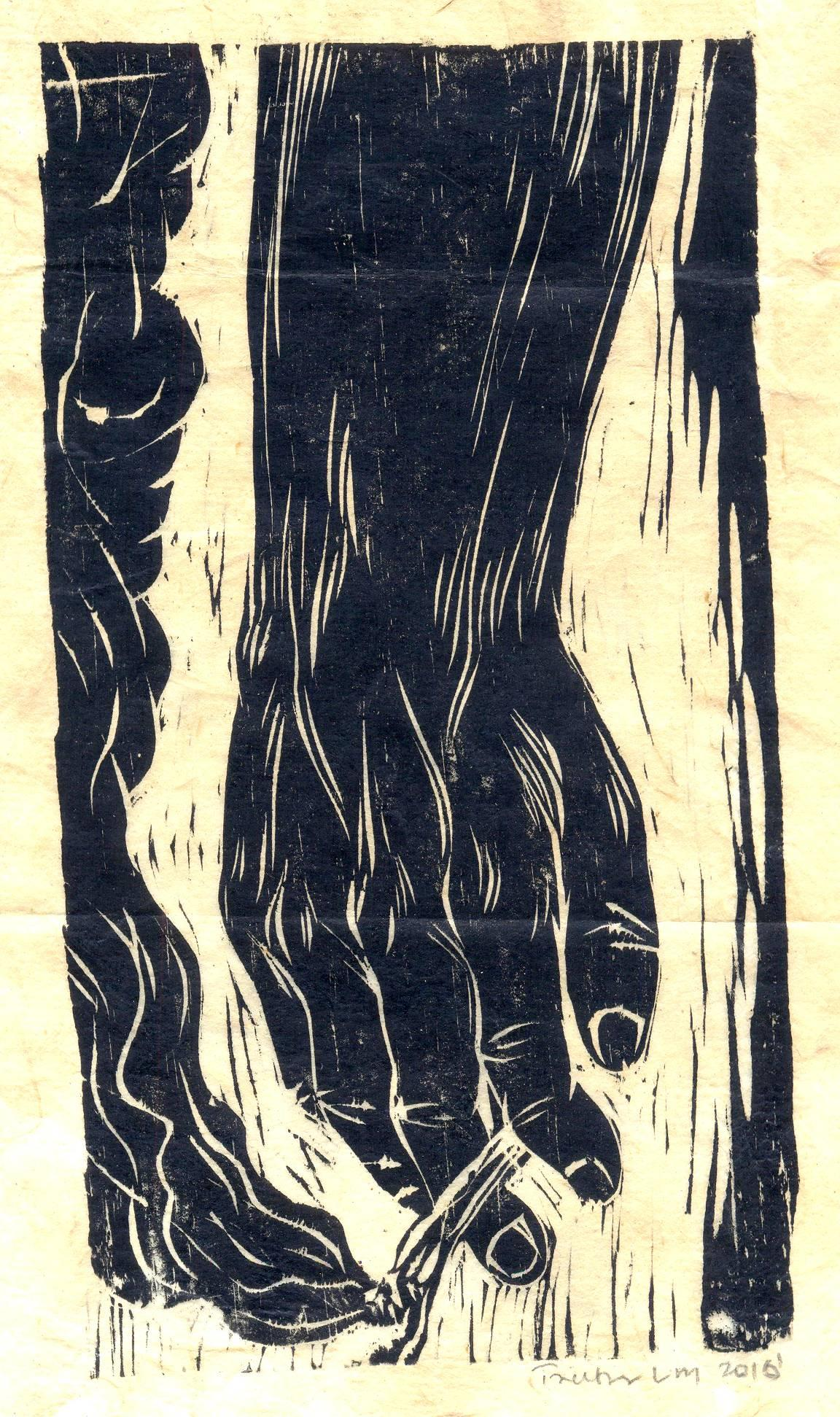 "Treibor Mawlong | The Wait | Woodcut print | 9.5"" x 5"" 