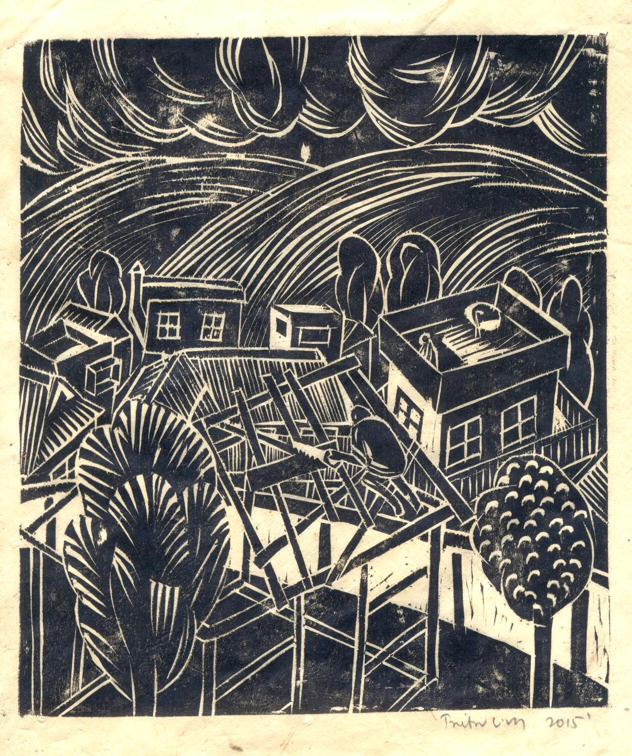 "Treibor Mawlong | The Home Maker | Woodcut print | 8.75"" x 7.75"" 