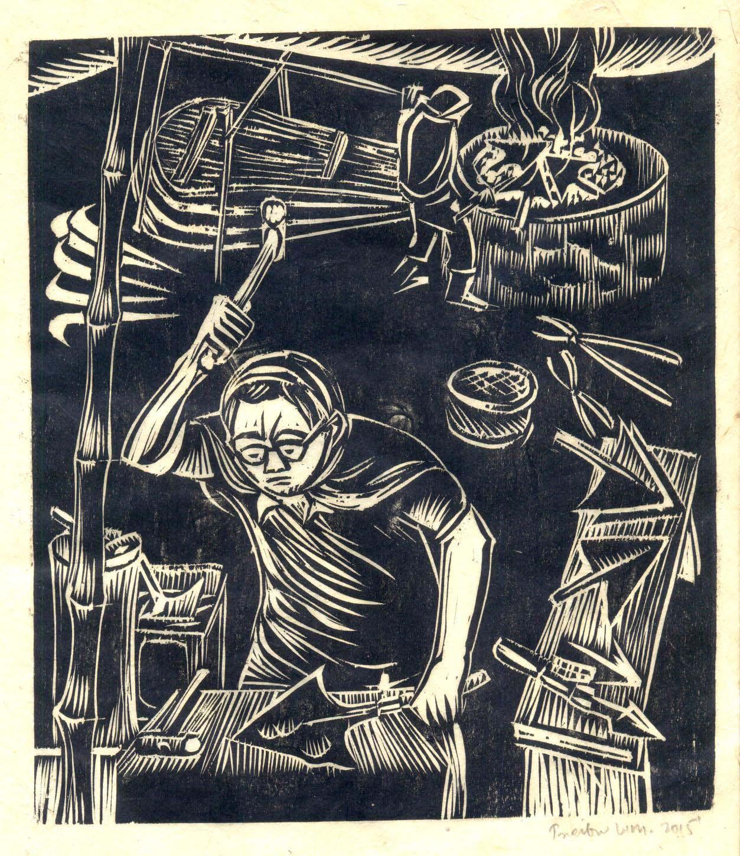 "Treibor Mawlong   The Black Smith   Woodcut print   9"" x 7.5""   2015"