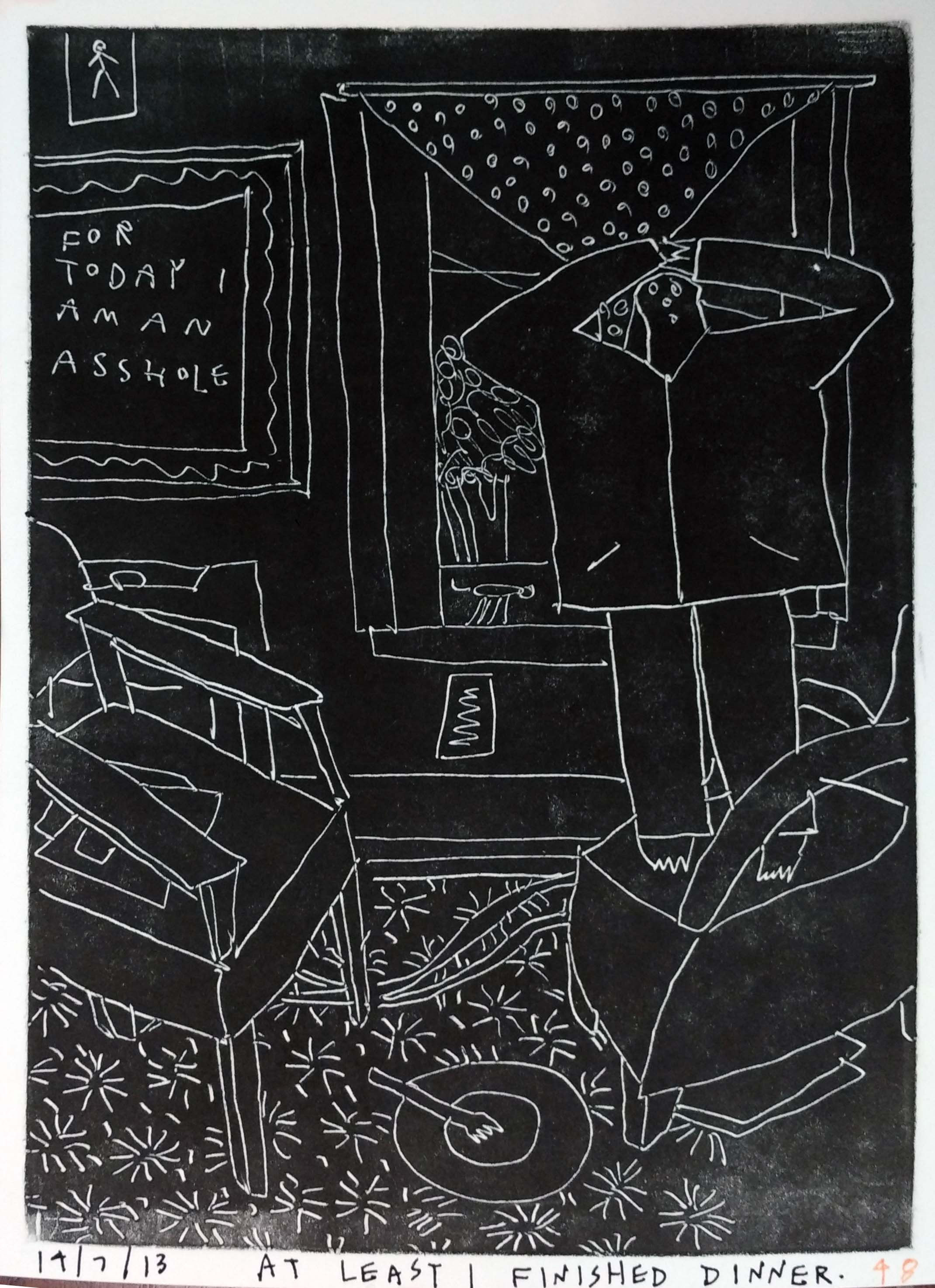 "Renuka Rajiv | At Least I Finished Dinner | Monoprint | 8.5"" x 6"" 