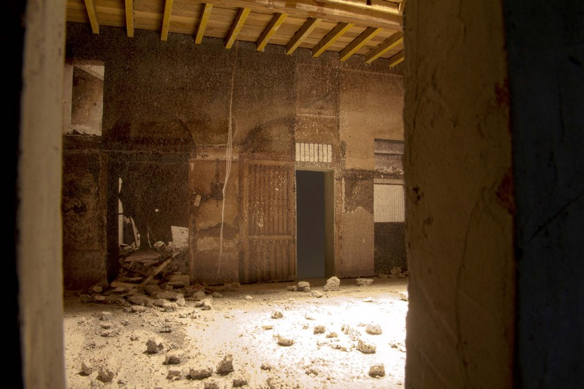 "Interior of an Abandoned Room |Digital print on concrete block, wood, cement and plaster | 53"" x 19.8"" x 24"" 