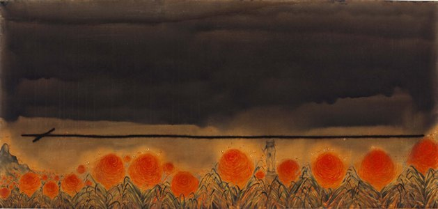 """Let a thousand flowers bloom   Watercolour on paper   41.25"""" x 87"""""""