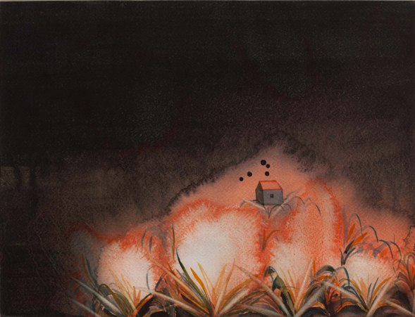 """Let a thousand flowers bloom   Watercolour on paper   9.75"""" x 12.75""""   2013"""