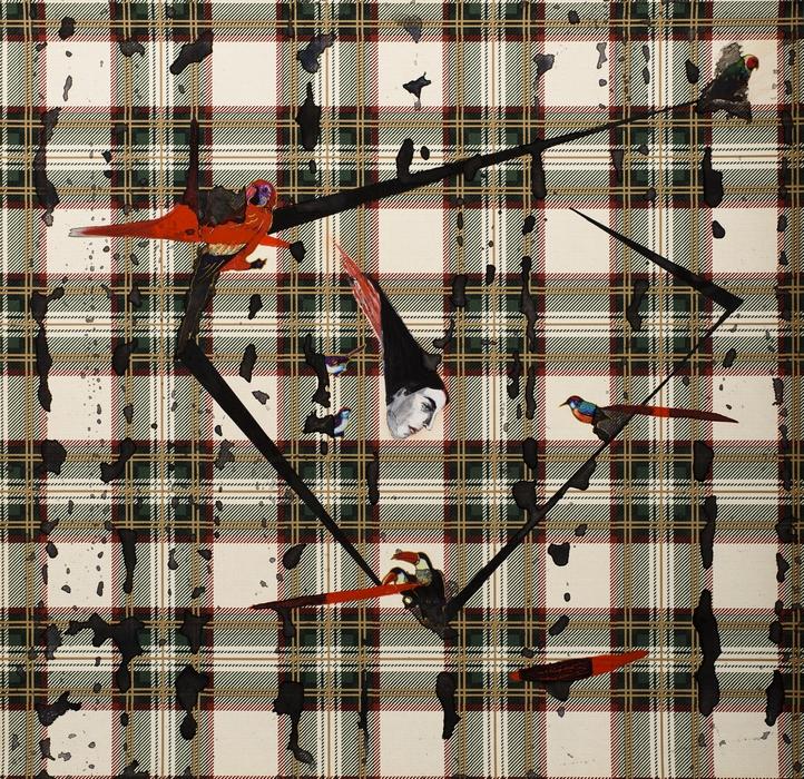 "Anju Dodiya | Fire Bird | Acrylic, watercolour and vinyl stickers on wall paper | 16.5"" x 16"" | 2016"