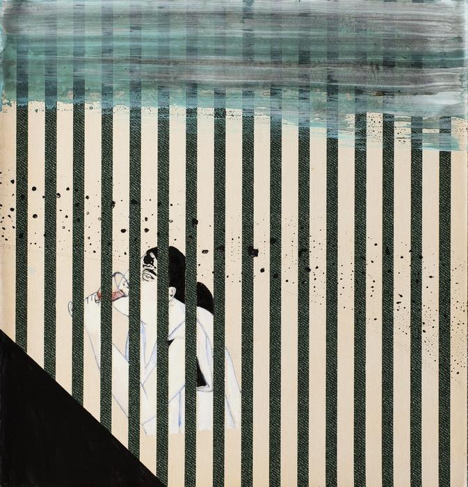 "Anju Dodiya | Forgetting | Acrylic, gouache and ink on wall paper | 16.5"" x 16"" | 2016"