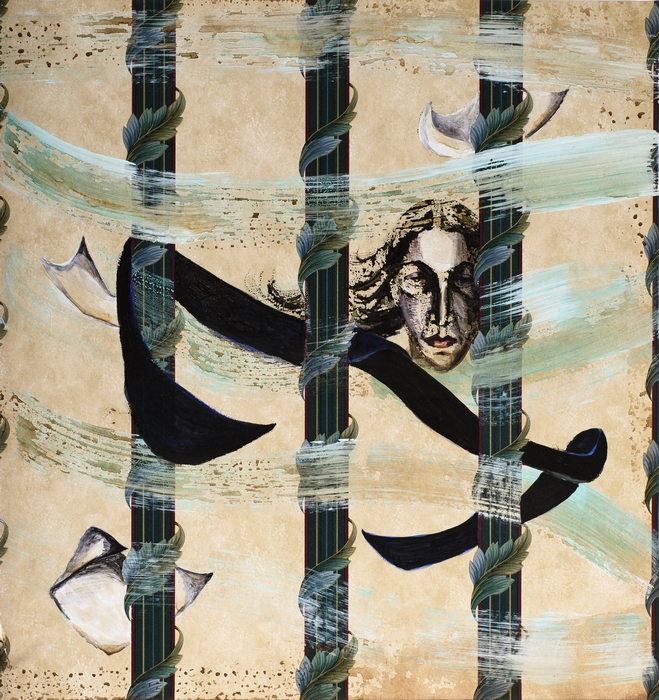 "Anju Dodiya | High Winds | Acrylic on wall paper | 16.5"" x 16"" | 2016"