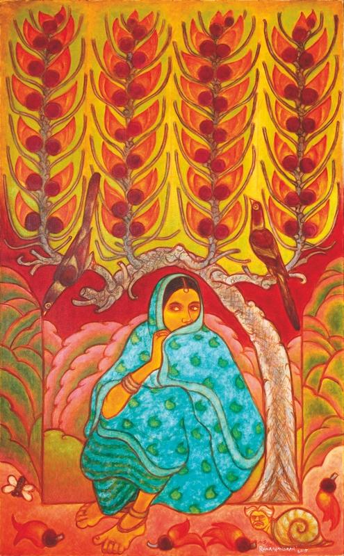 "Fire Tree - Agni Vriksha | Oil on canvas | 78"" x 48"" | 2015"