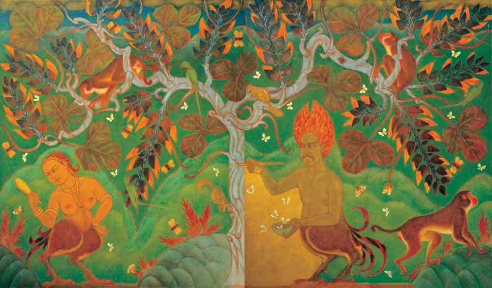 "Birth of Palash Tree | Oil on canvas | 80"" x 136"" | 1992"