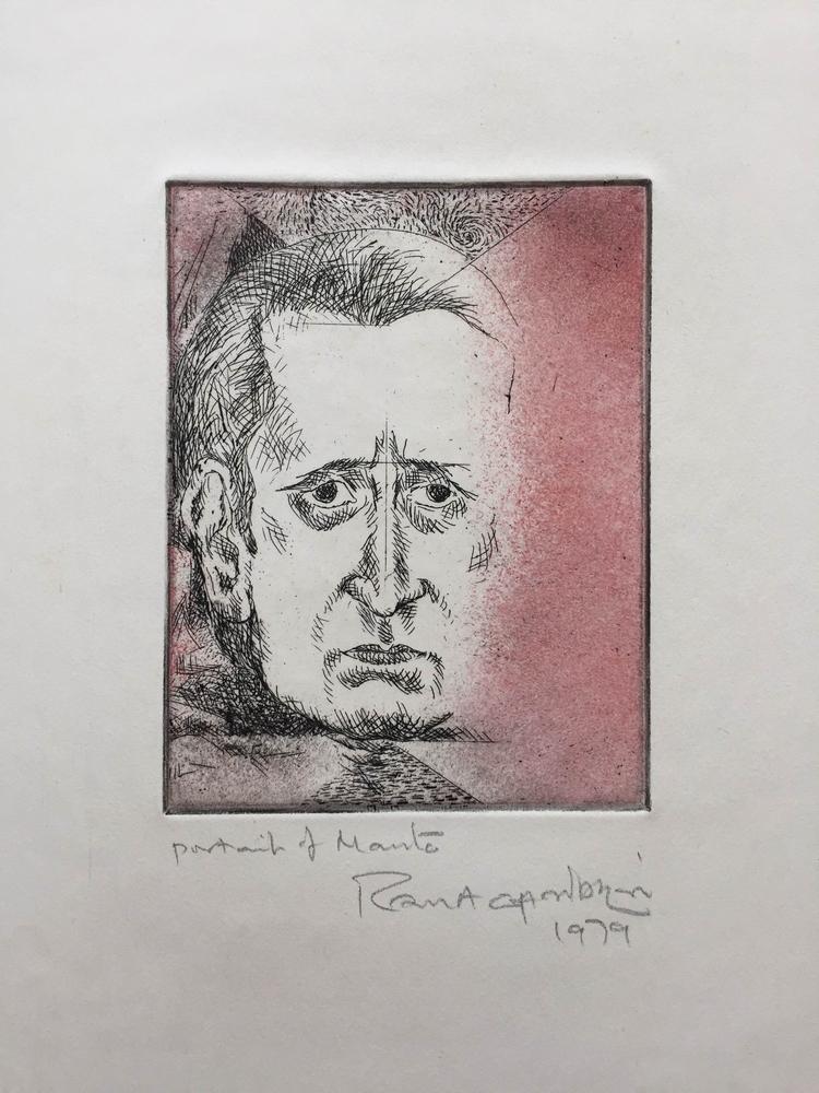 "Potrait of Manto |  Etching | 8"" x 5"" |  1979"