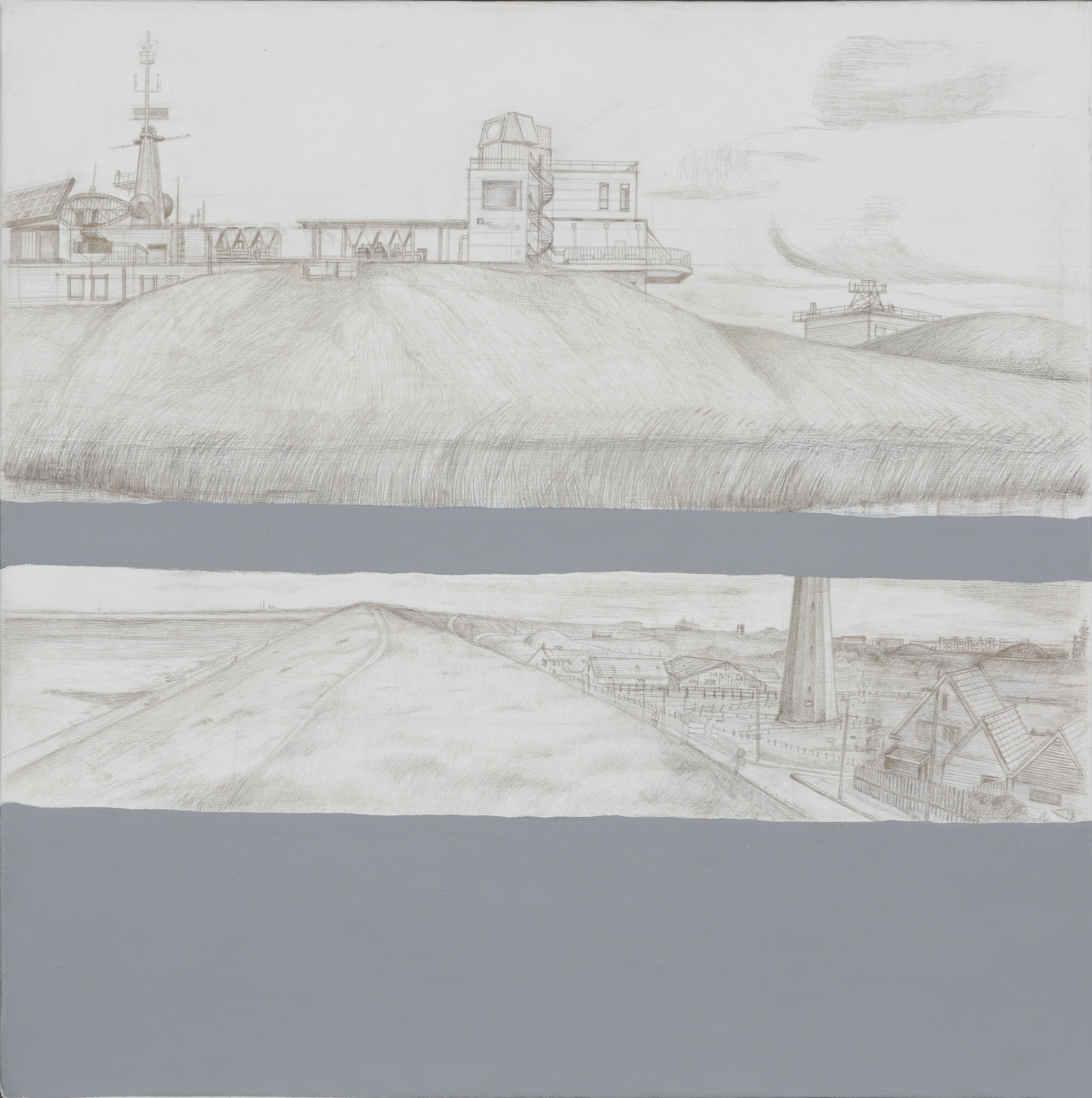 "Two Towers – Den Helder Landscape | Acrylic and silverpoint on linen | 19.5"" x 19.5"" 