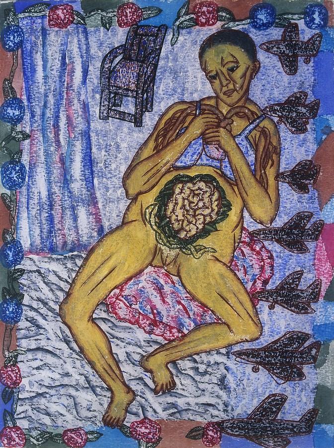 "Arpita Singh   The Embroidered Abdomen Medium  : Watercolour on paper   19"" x 14"""