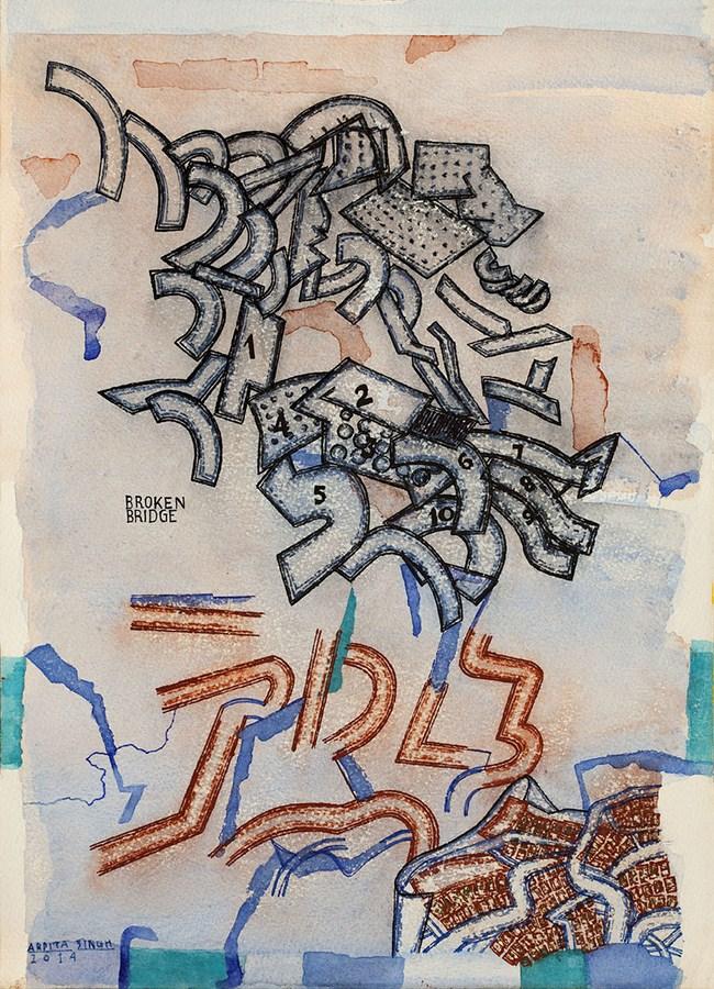 "Arpita Singh   Untitled   Watercolour on paper   16"" x 11.5""   2014"